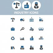 industry, business, logistics, factory icons, signs set, vector