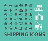 shipping, logistics, transport, cargo, delivery icons, signs set, vector