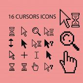 16 cursors, mouse, pointer, hand, edit, arrow, select icons, signs set, vector