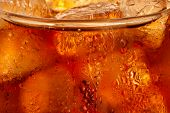 Closeup of cola with ice cubes in the glass.