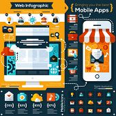 set of flat design illustrations and flat icons for mobile phone and web apps. Icons for social netw