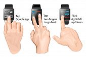 Set of multi-touch gestures for smart-watch. Tap, flick,  two fingers to go back. Vector illustratio