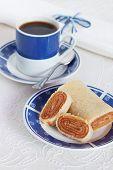 Typical Brazilian Dessert Bolo De Rolo (swiss Roll, Roll Cake) Coffee