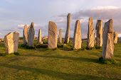 Megalithic stone circle of 3000 bc on the Isle of Lewis and Harris, Outer Hebrides, Scotland in evening light