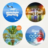 Summer holidays, travel and  vacation - set of colorful sticker with type design on a defocused back