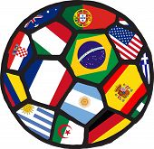 Football soccer ball made of flags. Vector