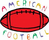 Color american football design with text.  Vector