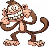 stock photo of monkeys  - Mocking cartoon monkey - JPG