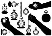 Set of different pocket watches