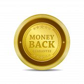 Money Back Gold Coin Vector Icon Button