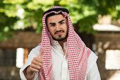 Arab Saudi Emirates Man Holding Thumbs Up