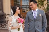 Beautiful Hispanic Bride And Groom