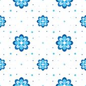 Vector Floral Pattern. Variation On Gzhel Theme. Simple Blue Cornflower Seamless.