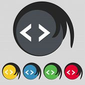 Code sign icon. Programmer symbol. Set of colored buttons. Vector