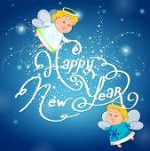 picture of blue angels  - New year on blue background with two angels - JPG