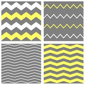 Tile vector chevron pattern set with yellow, white and grey zig zag background