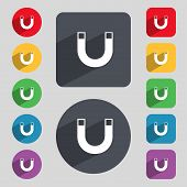 magnet sign icon. horseshoe it symbol. Repair sign. Set of colored buttons Vector