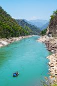 Gang river valley and rafting boat  near Rishikesh