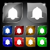 Alarm bell sign icon. Wake up alarm symbol. Speech bubbles information icons.