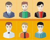 Man avatars characters on yellow background
