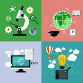 E learning and online education icons set
