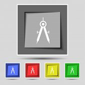 Mathematical Compass sign icon. Set of colored buttons. Vector