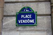 Place Vendome, muestra de calle, París