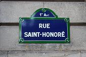 Street sign of the famous rue Saint-honoré, Paris, France