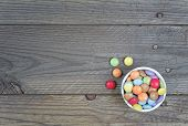 Candy Multicolor On Wood Background