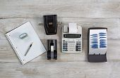 Business Objects On Wooden Desktop