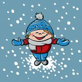 Boy enjoys first snow