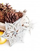 christmas decoration with pinecone in basket isolated on white background