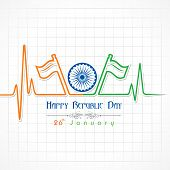 Republic Day greeting with heartbeat stock vector