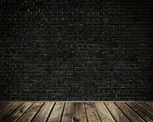 pic of backround  - Old dark brick wall and wooden floor backround - JPG