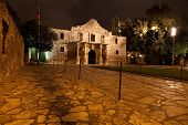 The Historic Alamo Mission at night
