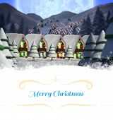 Christmas greeting card against quaint town with bright moon