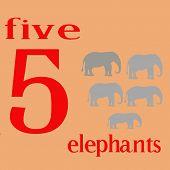 Five Gray Elephants