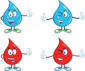 Water and Blood Drop Giving A Thumb Up. Collection Set