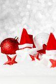 Beautiful red christmas decor on snow