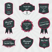 Set of vintage vector labels on sale product