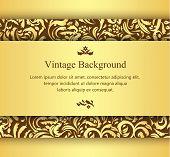 Golden Card With Vintage Floral Ornament