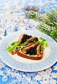 Christmas Food  Beluga Caviar On A Bread