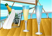 Champagne On Sail Boat
