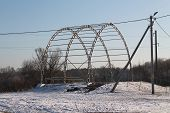 image of paysage  - metal construction of the stage in winter shine day - JPG
