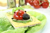 Crispbread With Cheese, Lettuce And Ladybug