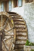 stock photo of water-mill  - old water mill at the residential house at the  Germany - JPG