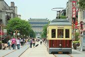 retro tramway on Qianmen street in Beijing