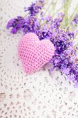 pic of sachets  - Lavender sachet and bunch on the crochet doily - JPG