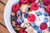 Healthy Breakfast -muesli And Fresh Fruits