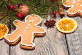 image of hazelnut tree  - Gingerbreads and fir tree branches on the wooden table - JPG